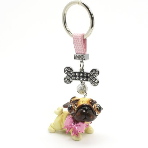 Pug Dog Keychain 00006 Pet Lover Gifts Collectible Art and Crafts Clay Sculpted Handmade Dog Figurine Oranament Bag Buddy Accessories for Any Occasion