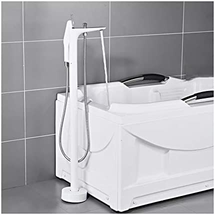 自立型バスタブの蛇口真鍮シングルハンドルクリエイティブ浴槽フィラーセット床に取り付けられたバスルームシャワーミキサータップハンドヘルドシャワー、冷たいお湯,白