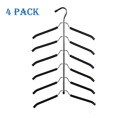 JOANNA'S HOME Friction Blouse Tree Hangers Space Saving Hangers Clothes Organizer - 6 Layer Black Chrome Closet Clothes Hanger - 4 Pack (Hanger Tree)