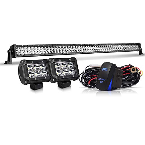 - DOT 54 Inch Led Light Bar Combo Beam Offroad Driving Light Bar On Bumper Windshield Roof + 4Inch Pods Cube Fog Light + Wiring Harness Kit for Truck Jeep Hummer UTV ATV SUV Ford Dodge Ram Chevy GMC 4WD
