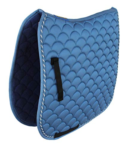 Professional Equine Horse English Quilted Contoured Dressage Trail Saddle Pad Blue-Grey 7295GY