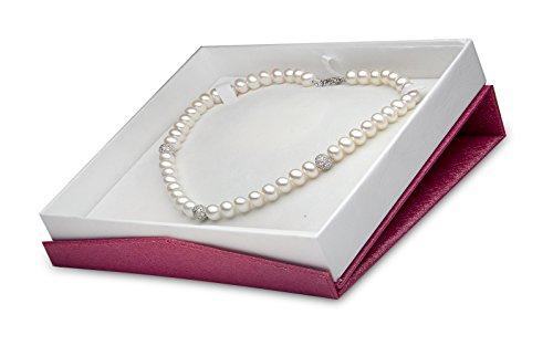 Kimura Pearls Argenté 8.0-8,5 mm, blanc Semi-ronde-Perle de Culture d'eau douce-AA - 18 cm réglable