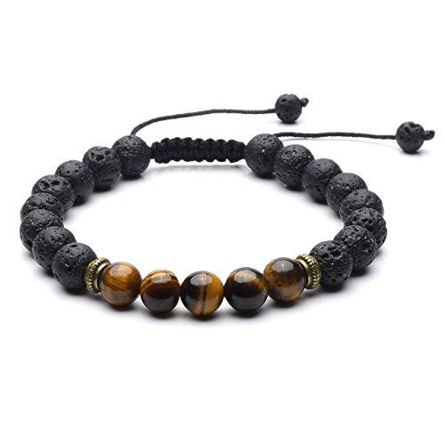 JSDDE 7 Chakra Healing Bracelet with Real Stones, Lava Diffuser, Mala...