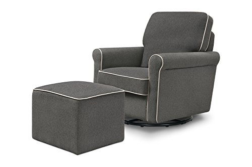DaVinci Maya Upholstered Swivel Glider and Ottoman, Dark Grey with Cream ()