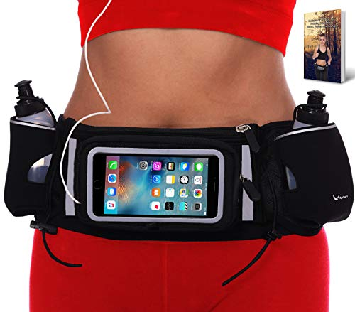 Runtasty [Voted #1 Hydration Belt] Winners' Running Fuel Belt; Includes Accessories - 2 BPA Free Water Bottles & Runners Ebook; Fits Any iPhone; w/Touchscreen Cover; No Bounce Fit; 100% Guarantee! -