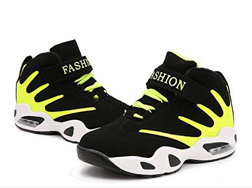 HYLM Hombres zapatos deportivos Zapatos ocasionales grueso inferior Corea Aumento Zapatillas de baloncesto zapatos negro rojo azul fluorescent green