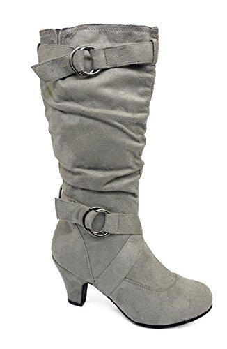 Damen grau Reißverschluss biker lässig gerüscht hoch Knie Wade niedriger Absatz Stiefel Schuhe Größen 4-10