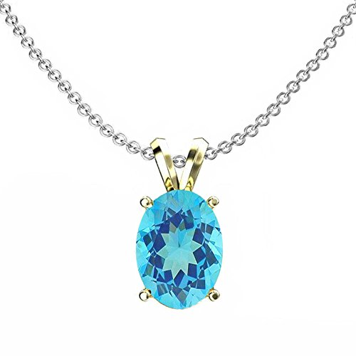 Dazzlingrock Collection 14K 9x7 mm Oval Cut Blue Topaz Ladies Solitaire Pendant (Silver Chain Included), Yellow Gold