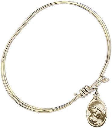 DiamondJewelryNY Eye Hook Bangle Bracelet with a Madonna /& Child Charm.