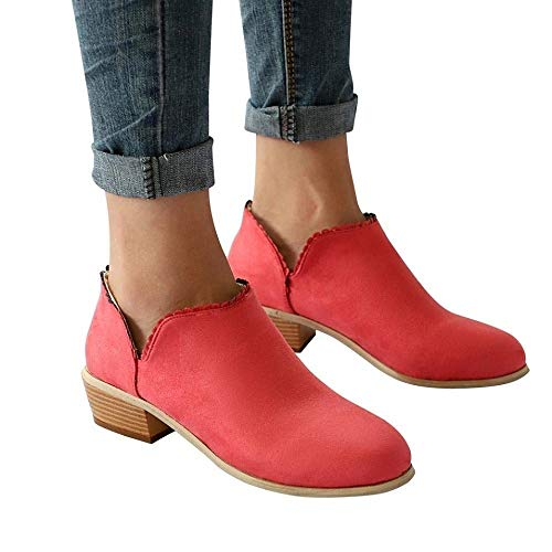 Chelsea Boots Women Block Heel Suede Ankle Leather Low Winter Lace Flat Ladies Casual Comfortable Chunky 3cm Heeled Shoes Beige Pink Black Grey 35-43 Red