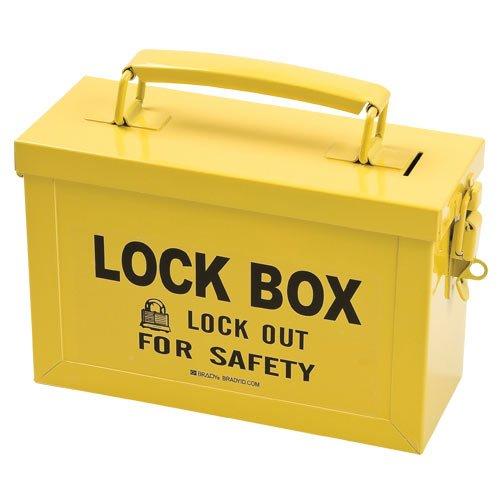 Brady 65672 Powder-Coated Steel Group Lockout Box, 40 Number of Padlocks, 6'' H x 9'' W, Yellow by Brady