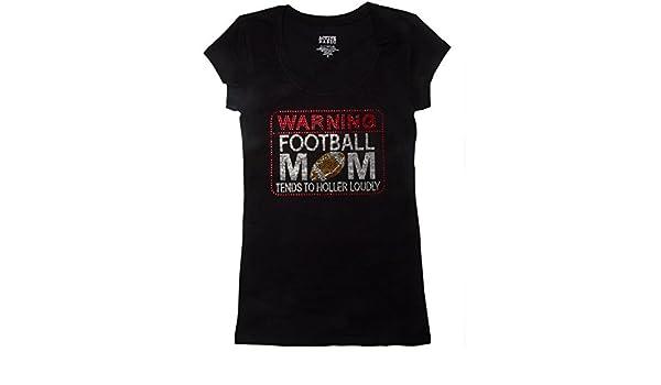 dbfd2e49 Amazon.com: Football Mom Shirts - Warning Football Mom Tends to Holler  Loudly - Sports Shirts - Football Shirts - Football Mom - Mom Shirts  (Medium, 4 - 6, ...