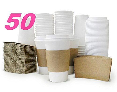 Latte Package (Cevonibz Paper Hot Coffee Cups With Lids Sleeves 16 oz Disposable White 50 Tea Cappuccino Latte Cocoa cold)