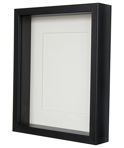 BD ART Black Shadow Box 3D Picture Frame 8x10 (20 x 25 x 4.7 cm) with Mount 5x7 inch, Glass - Shadow Box 7x7 Frame