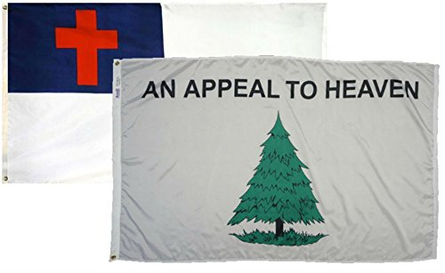 3x5 3'x5' Wholesale Combo Set Christian Christ & Appeal To Heaven 2 Flags -
