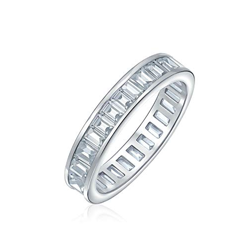 Cubic Zirconia Channel Set Rectangle Baguette CZ Eternity Ring Wedding Band For Women 925 Sterling Silver ()
