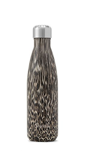 Double Wall Insulated Stainless Steel (S'well Vacuum Insulated Stainless Steel Water Bottle, Double Wall, 17 oz, Khaki Cheetah)