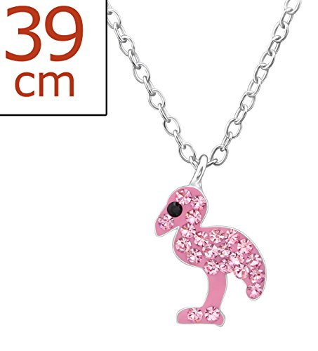 Best Wing Jewelry .925 Sterling Silver Pink Flamingo Made with Swarovski Crystal Pendant Necklace