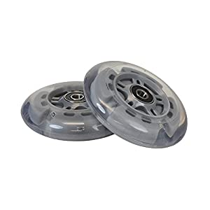 Gray 100 mm (98 mm Replacement) Razor Light-Up Flashing Kick Scooter Wheel with Bearings (Set of 2)