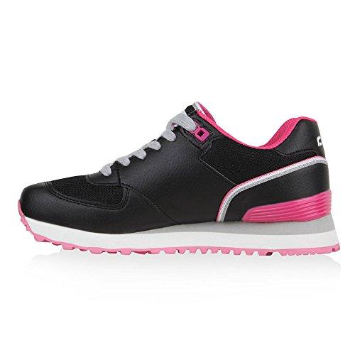 Cultz Damen Sneaker Schnürschuhe Halbschuhe Laufschuhe Runners in Mehreren Farben 36-41 Flandell Schwarz Pink