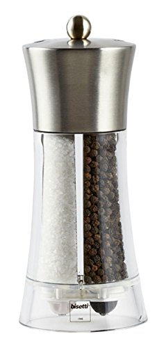 "Bisetti Acrylic Stainless Steel Salt and Pepper Mill, 7.5"", Grey"