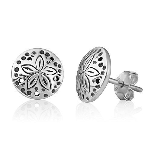 (925 Oxidized Sterling Silver Little Sand Dollar Sea Star Round Post Stud Earrings 9 mm)
