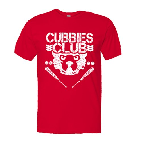 Chicago Cubs Clubhouse - PleaseMeTees Mens Cubbies Baseball Club Wrigley Chicago HQ Tee-Red-L