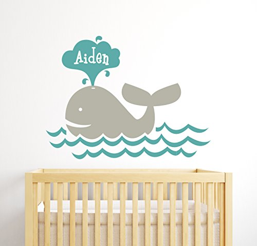 Whale Personalized Name Wall Decal - Nursery Wall Decals - Baby Room Decor - Nautical Wall Decals - Whale Vinyl Sticker]()