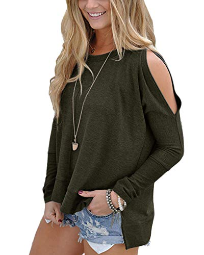 - Yoins Women's Cutout Cold Shoulder Slit Hem Long Sleeves T-Shirts Pullover Tops Army Green XS