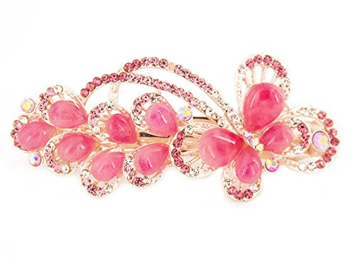 Yeshan Lady lovely Jewelry Rhinestone Crystal beaded Butterfly Design Alloy Hair Barrettes Clips,Pink