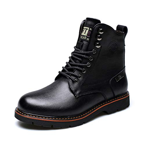 (Phil Betty Mens Martin Boots Plus Velvet Round-Toe Lace Up Casual Fashion)