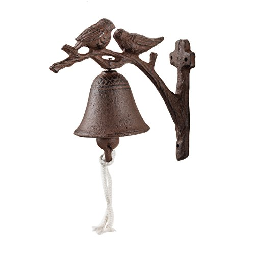 Antique Cast Iron Bell - Prinz Cast Iron 2 Birds on Bell In Antique Brown Finish