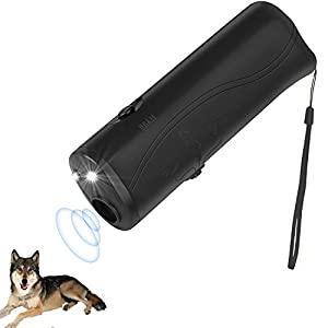 Wangou Anti Barking Stop Bark Handheld 3 in 1 Pet LED Ultrasonic Dog Repeller and Trainer Device – Dog Deterrent/Training Tool/Stop Barking – Black