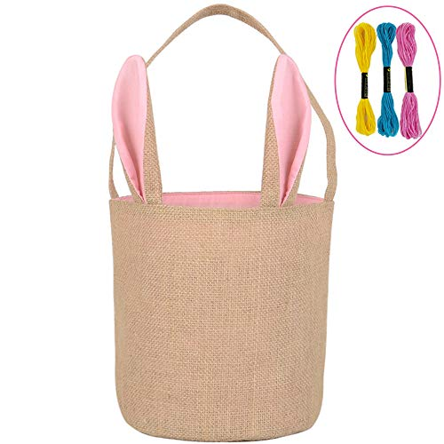 - Easter Bunny Basket Egg Baskets for Kids with Cross-Stitch Line Burlap Gift Bag Round Tote Jute Bags for Embroidery DIY Daily Use (Pink) Y048B