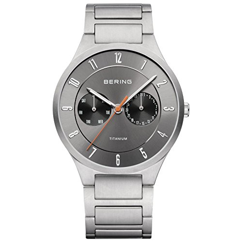 BERING Time 11539-779 Men's Full Titanium Collection Watch with Titan Link Band and scratch resistant sapphire crystal. Designed in Denmark.