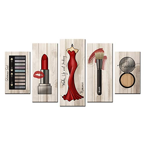 Contemporary Print Dress - sechars - Large 5 Piece Canvas Wall Art Fashion Makeup Pictures Vintage Wood Style Lipstick Red Dress Canvas Prints for Beauty Salon Dressing Room Girls Room Bedroom Wall Decor