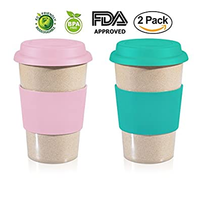 16oz ValuePack Two 100% Organic EcoFriendly Reusable Travel Mug, To Go Takeaway Coffee Cup, Biodegradable Material FDA Approved BPA Free, Leak Proof Silicone Lid & Heat Resistant Grip