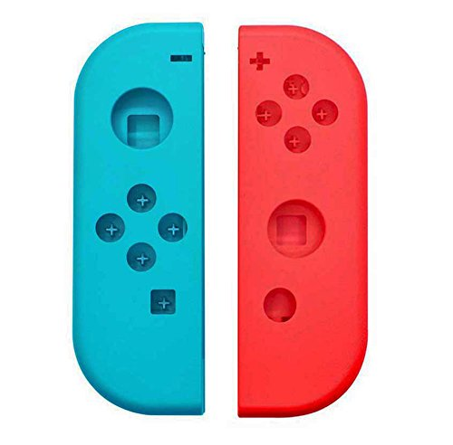 Hisonders Full Housing Faceplate Handle Shells Case Cover & Battery Middle Plate Frame Replacement for Nintendo Switch NS Controllers Joy-Cons (L/R) - Neon Red+Blue