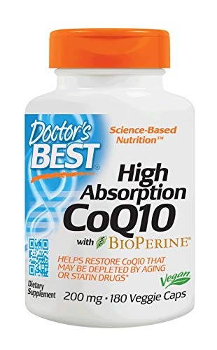 Doctor's Best High Absorption CoQ10 with BioPerine, Non-GMO, Gluten Free, Naturally Fermented, Vegan, Soy Free, Heart Health and Energy Production, 200 mg, 180 Veggie Caps -
