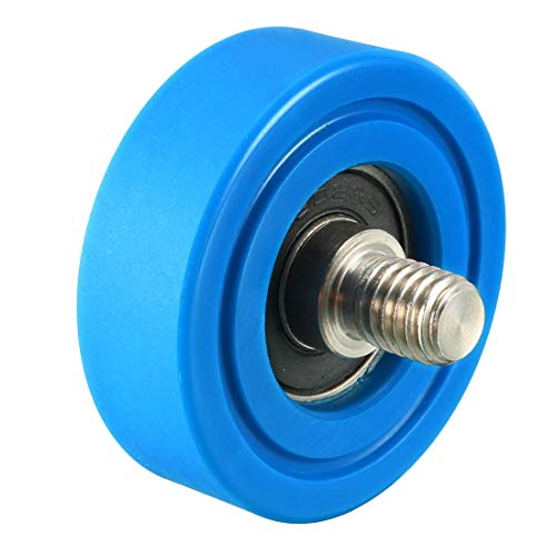 (uxcell 2pcs 40x13x1mm Roller Idler Bearing Pulley Sliding Conveyor Wheel Threaded Rod M810 Blue)
