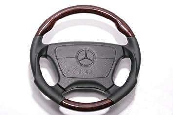 Walnut Wooden Steering Wheel for Mercedes Benz R129 SL Class Leather:Black Sports W210 W140 W124 W463