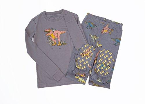 Grey Cotton 2 Piece Kids Footed Pajamas Jurassic Dinosaurs Footie Pajamas