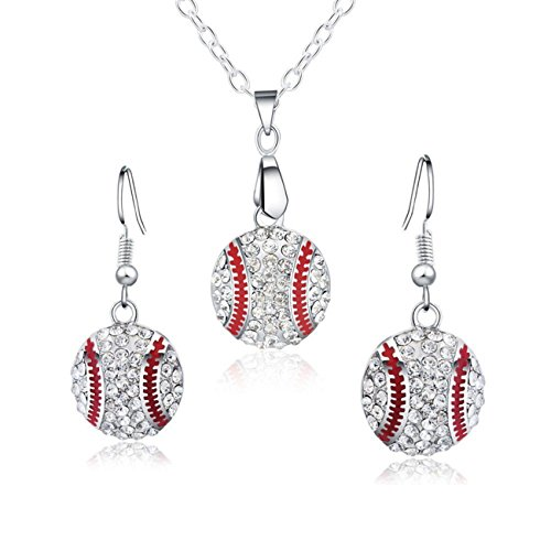 Jewelry Womens Accessories - Feximzl Baseball Pendant Necklace & Dangle Earrings Jewelry Set Sport Clear Crystal Fashion Jewelry (Silver earrings+necklace)
