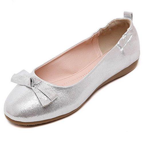 VogueZone009 Basso Puro Argento Tacco Flats Tonda Ballet Pelle Donna Maiale Punta Tirare di rUW1FqCrSR
