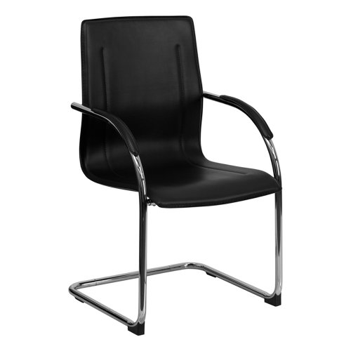 (Offex BT-509-BK-GG Black Vinyl Side Chair with Chrome Sled Base)