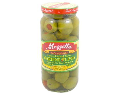 Mezzetta Imported Spanish Queen Martini Olives Marinated with Dry Vermouth -- 10 oz