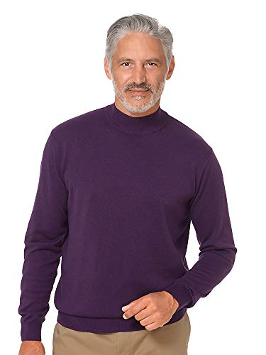 Paul Fredrick Men's Silk, Cotton \ Cashmere Mock Neck Sweater Plum Large ()