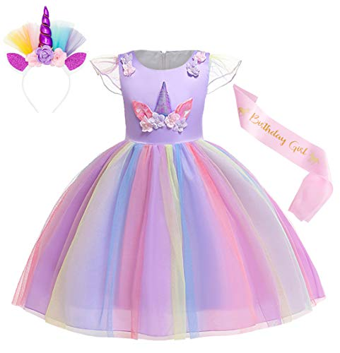 Cotrio Unicorn Costume Flower Girls Pageant Princess Party Dress with Headband 3-Pieces Rainbow Colourful Tutu for Birthday Halloween (4T, 3-4Years, Purple, 110)]()