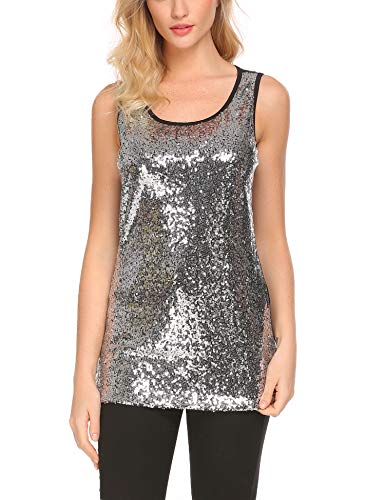 Zeagoo Women's Sleeveless Sparkle Shimmer Camisole Loose Sequined Vest Tank Tops,2-silver,Small -