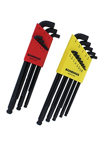 Short Arm Hex Key (Bondhus 20599 0.050 - 3/8-Inch and 1.5 - 10mm Stubby Ball End Hex Key Double Pack)